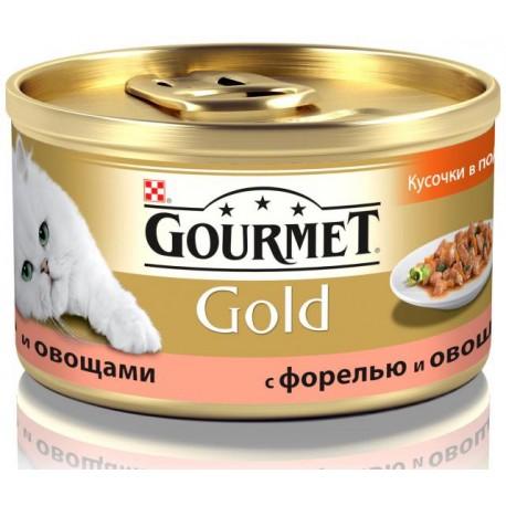 Gourmet Gold консервы для кошек Кусочки в подливке Форель, овощи