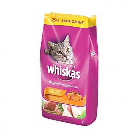 Whiskas - Вискас корм для кошек подушечки нежный паштет курица/утка/индейка