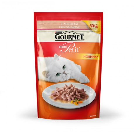 Gourmet Mon Petit пауч-консервированный корм для взрослых кошек с Лососем