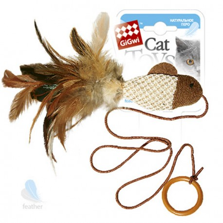 GiGwi Игрушка для кошек Рыбка дразнилка на палец с кольцом