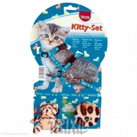 Trixiе 4190 шлейка д/котят с 2-мя игрушками нейлон с рисунком