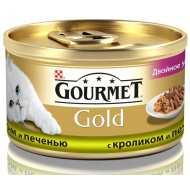 Gourmet Gold консервы для кошек Кусочки в подливке Кролик, печень