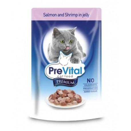 Prevital Premium Консервированный корм для кошек Кусочки в желе с лососем и креветками