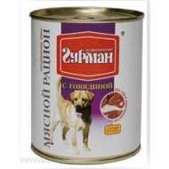 Четвероногий гурман консервы для собак мясной рацион с говядиной