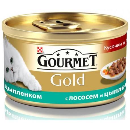 Gourmet Gold консервы для кошек Кусочки в подливке Лосось, цыпленок