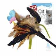 GiGwi Дразнилка для кошек с бабочкой, натуральные некрашеные перья