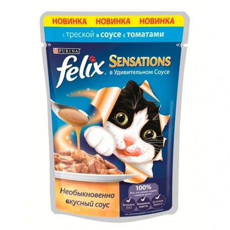 Felix Sensetions Пауч для кошек Треска, томат в соусе