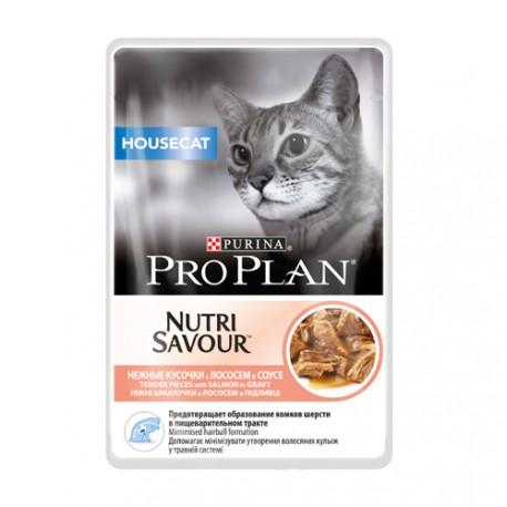 Pro Plan Nutrisavior Adult Housecat Пауч для домашних кошек Лосось в соусе