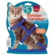 Trixie 4185 Шлейка для кошек однотонная с поводком, нейлон 35см*10мм