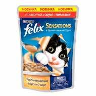 Felix Sensetions Пауч для кошек Говядина, томат в соусе