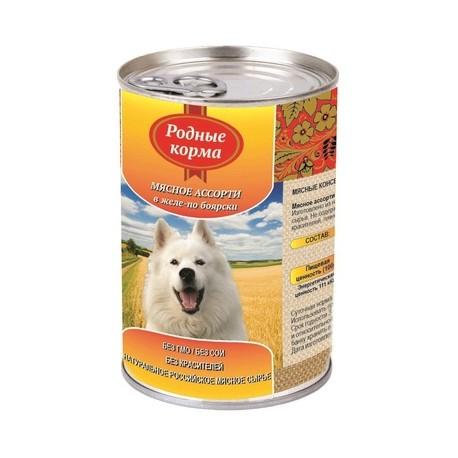 Родные корма Консервы для собак Мясное ассорти в желе по Боярски