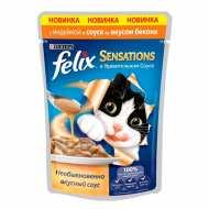 Felix Sensetions Пауч для кошек Индейка, бекон в соусе