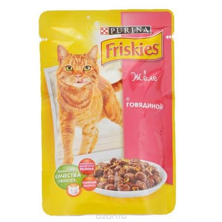 Friskies Фрискис пауч для взрослых кошек Говядина кусочки в желе