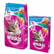 Whiskas Вискас Подушечки Сухой корм для кастрированных и стерилизовнных котов и кошек Кролик