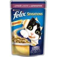 Felix Sensations Пауч для кошек Утка, шпинат