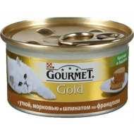 Gourmet Gold консервы для кошек Террин с уткой, морковью и шпинатом, кусочки в паштете
