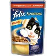 Felix Sensations Пауч для кошек Говядина, томат