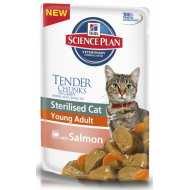 Hills Feline Young Adult Sterilised  Cat- Хилс паучи  для стерилизованных кошек до 6 лет  Лосось