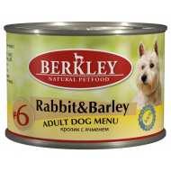 Berkley Rabbit & Barley Adult Dog №6 Беркли консервы для собак Кролик с ячменем №6
