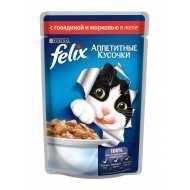 Felix Аппетитные кусочки Пауч для кошек Говядина с морковью в желе