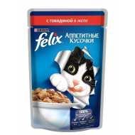 Felix Аппетитные кусочки Пауч для кошек Говядина в желе