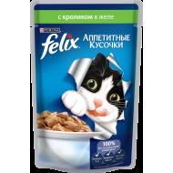 Felix Аппетитные кусочки Пауч для кошек Кролик в желе