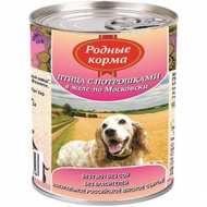 Родные корма Консервы для собак Птица с потрошками в желе по Московски