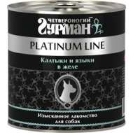 Четвероногий Гурман консервы для собак Платинум калтыки и языки в желе