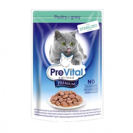 Prevital Premium Консервированный корм для стерилизованных кошек Кусочки в соусе с птицей(пауч)