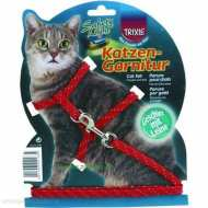 Trixiе 4183 шлейка для кошек светоотражающая с поводком 18-35см*10мм, 1,3м