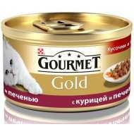 Gourmet Gold консервы для кошек Кусочки в подливке Курица, печень