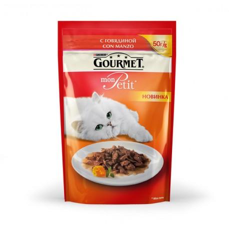 Gourmet Mon Petit пауч-консервированный корм для взрослых кошек с Говядиной